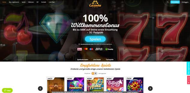 Die Webseite von Casimba.
