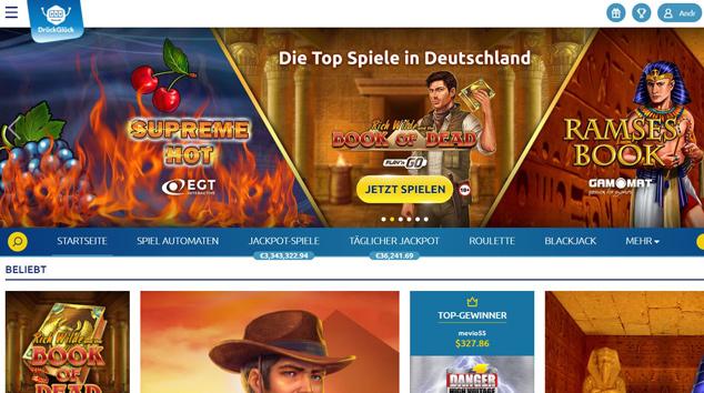 Die Webseite von DrückGlück.