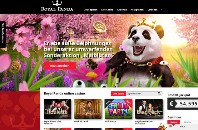 Die Webseite von Royal Panda.
